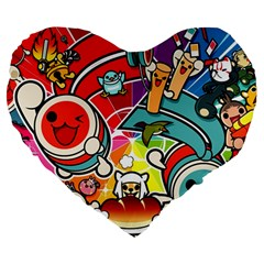 Cute Doodles Wallpaper Background Large 19  Premium Flano Heart Shape Cushions