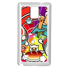 Cute Doodles Wallpaper Background Samsung Galaxy Note 4 Case (white)