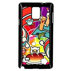 Cute Doodles Wallpaper Background Samsung Galaxy Note 4 Case (black)