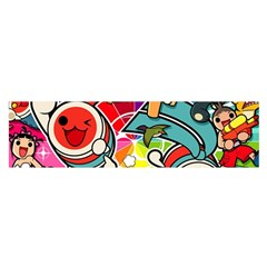 Cute Doodles Wallpaper Background Satin Scarf (Oblong)