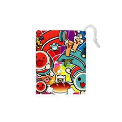 Cute Doodles Wallpaper Background Drawstring Pouches (XS)