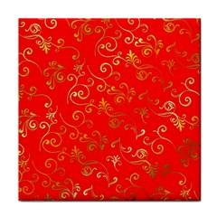 Golden Swrils Pattern Background Tile Coasters