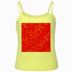 Golden Swrils Pattern Background Yellow Spaghetti Tank