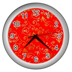Golden Swrils Pattern Background Wall Clocks (silver)