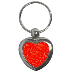 Golden Swrils Pattern Background Key Chains (heart)