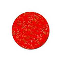 Golden Swrils Pattern Background Rubber Coaster (round)