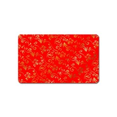 Golden Swrils Pattern Background Magnet (name Card)