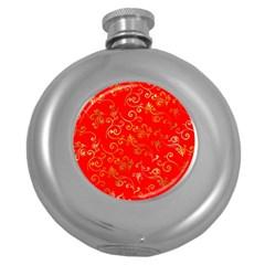 Golden Swrils Pattern Background Round Hip Flask (5 Oz)