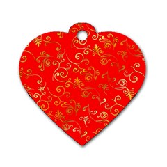 Golden Swrils Pattern Background Dog Tag Heart (two Sides)