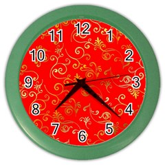 Golden Swrils Pattern Background Color Wall Clocks