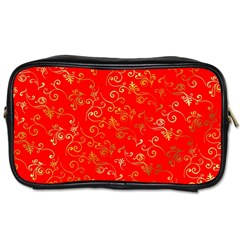 Golden Swrils Pattern Background Toiletries Bags
