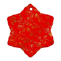 Golden Swrils Pattern Background Snowflake Ornament (Two Sides)