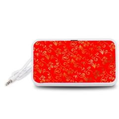 Golden Swrils Pattern Background Portable Speaker (White)