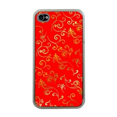 Golden Swrils Pattern Background Apple iPhone 4 Case (Clear)