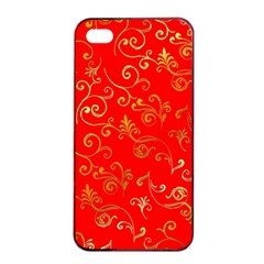 Golden Swrils Pattern Background Apple iPhone 4/4s Seamless Case (Black)