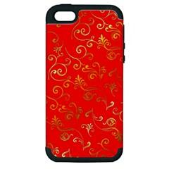 Golden Swrils Pattern Background Apple iPhone 5 Hardshell Case (PC+Silicone)