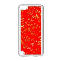 Golden Swrils Pattern Background Apple iPod Touch 5 Case (White)