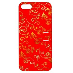 Golden Swrils Pattern Background Apple iPhone 5 Hardshell Case with Stand