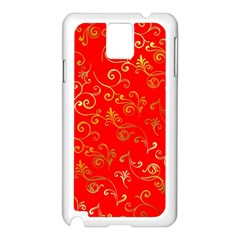 Golden Swrils Pattern Background Samsung Galaxy Note 3 N9005 Case (white)