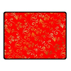 Golden Swrils Pattern Background Double Sided Fleece Blanket (Small)