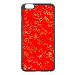 Golden Swrils Pattern Background Apple Iphone 6 Plus/6s Plus Black Enamel Case