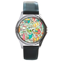 Summer Up Pattern Round Metal Watch