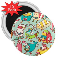 Summer Up Pattern 3  Magnets (10 Pack)