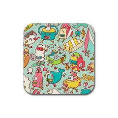 Summer Up Pattern Rubber Coaster (square)