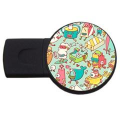 Summer Up Pattern USB Flash Drive Round (1 GB)
