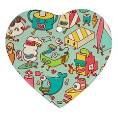 Summer Up Pattern Heart Ornament (Two Sides)
