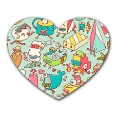 Summer Up Pattern Heart Mousepads