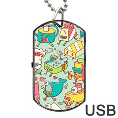 Summer Up Pattern Dog Tag USB Flash (Two Sides)