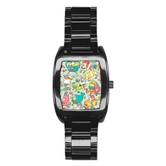 Summer Up Pattern Stainless Steel Barrel Watch