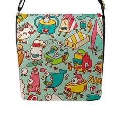 Summer Up Pattern Flap Messenger Bag (l)