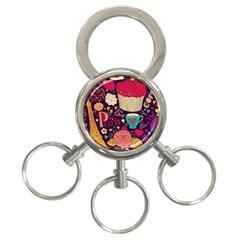 Cute Colorful Doodles Colorful Cute Doodle Paris 3 Ring Key Chains
