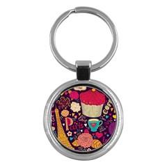 Cute Colorful Doodles Colorful Cute Doodle Paris Key Chains (round)