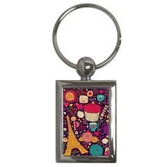 Cute Colorful Doodles Colorful Cute Doodle Paris Key Chains (rectangle)
