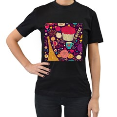 Cute Colorful Doodles Colorful Cute Doodle Paris Women s T Shirt (black) (two Sided)