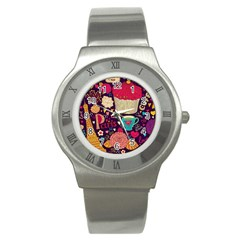 Cute Colorful Doodles Colorful Cute Doodle Paris Stainless Steel Watch