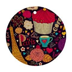 Cute Colorful Doodles Colorful Cute Doodle Paris Round Ornament (Two Sides)