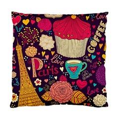 Cute Colorful Doodles Colorful Cute Doodle Paris Standard Cushion Case (one Side)