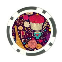 Cute Colorful Doodles Colorful Cute Doodle Paris Poker Chip Card Guard (10 pack)
