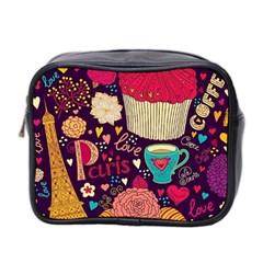 Cute Colorful Doodles Colorful Cute Doodle Paris Mini Toiletries Bag 2 Side