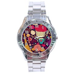 Cute Colorful Doodles Colorful Cute Doodle Paris Stainless Steel Analogue Watch
