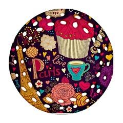 Cute Colorful Doodles Colorful Cute Doodle Paris Ornament (Round Filigree)
