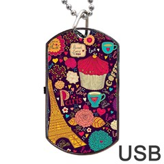 Cute Colorful Doodles Colorful Cute Doodle Paris Dog Tag Usb Flash (two Sides)