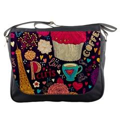 Cute Colorful Doodles Colorful Cute Doodle Paris Messenger Bags