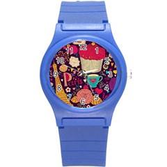 Cute Colorful Doodles Colorful Cute Doodle Paris Round Plastic Sport Watch (s)