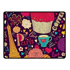 Cute Colorful Doodles Colorful Cute Doodle Paris Double Sided Fleece Blanket (Small)