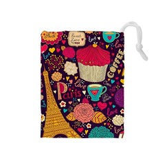 Cute Colorful Doodles Colorful Cute Doodle Paris Drawstring Pouches (medium)